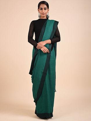 Green-Black Handwoven Silk Saree