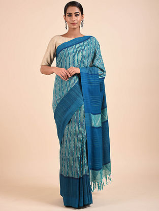 Blue Handwoven Block Printed Matka Silk Saree