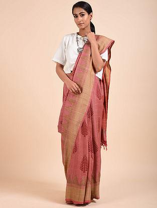 Pink Handwoven Block Printed Matka Silk Saree