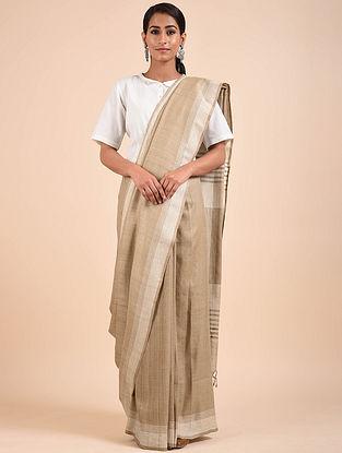 Beige-Silver Handwoven Tussar Silk Saree