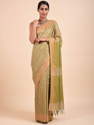 Beige-Green Handwoven Tussar Silk Saree