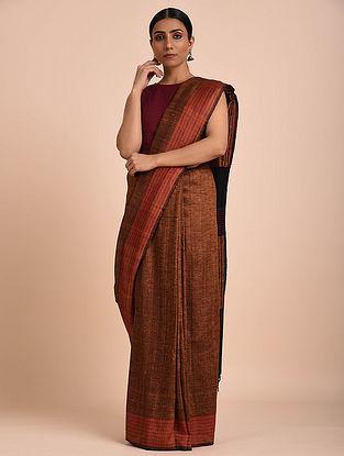 Brown Handwoven Tussar Silk Saree