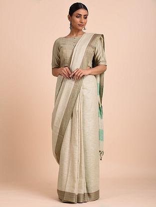 Ivory-Blue Handwoven Silk Saree