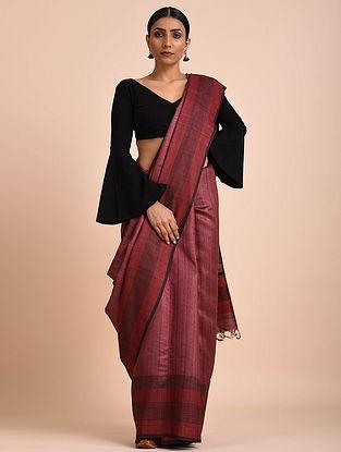 Maroon Handwoven Tussar Silk Saree