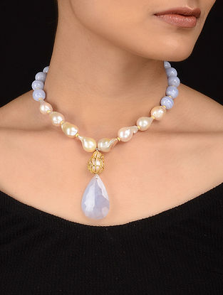 Blue Chalcedony and Fresh Water Pearl Gold-plated Silver Necklace
