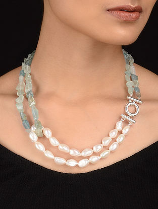 Aquamarine and Fresh Water Pearl Beaded Silver Necklace