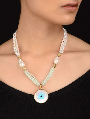 Pearl Beaded Gold-plated Silver Necklace