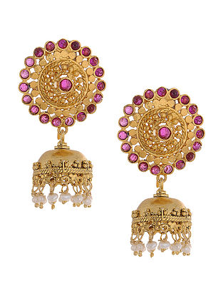 Red Hydro Gold Tone Silver Jhumkis with Pearls