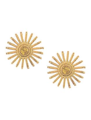 Citrine Gold Tone Silver Earrings