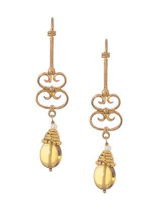 Brown Gold Tone Silver Earrings
