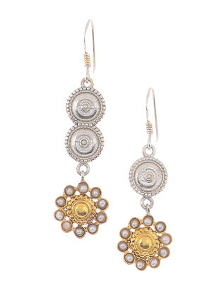 Dual Tone Silver Earrings with Floral Design