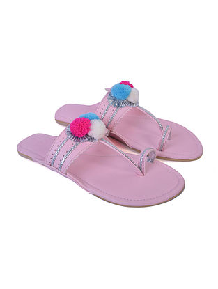 Pink Hand Embroidered Faux Leather Kolhapuri Flats