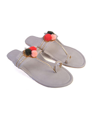 Off White Hand Embroidered Faux Leather Kolhapuri Flats