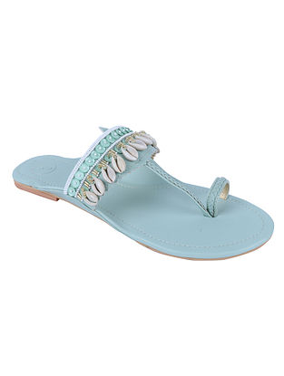 Powder Blue Hand Embroidered Leather Kolhapuri Flats with Shells
