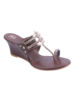 Copper Brown Handcrafted Leather Kolhapuri Wedges