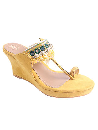 Yellow Hand Embroidered Suede Kolhapuri Wedges with Shells and Mirrors