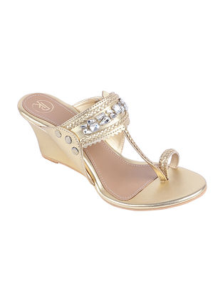 Gold Hand Embroidered Leather Kolhapuri Wedges with Embellishments