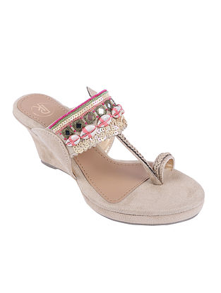 Beige Hand Embroidered Suede Kolhapuri Wedges with Shells and Mirrors