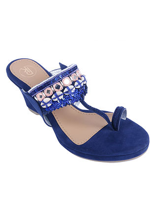 Royal Blue Hand Embroidered Suede Kolhapuri Wedges with Shells and Mirrors