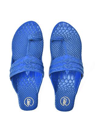 Blue Textured Faux Leather Kohlapuri Flats