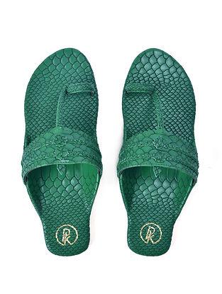 Green Textured Faux Leather Kohlapuri Flats