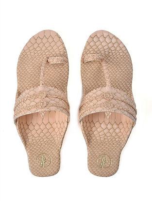 Beige Textured Faux Leather Kohlapuri Flats