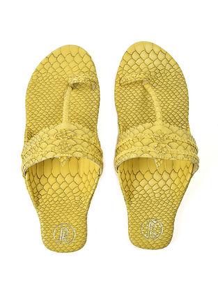 Yellow Textured Faux Leather Kohlapuri Flats