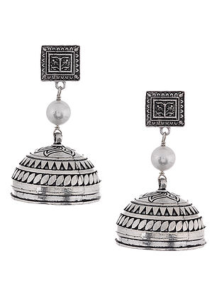 Classic Silver Tone Jhumkis with Pearl