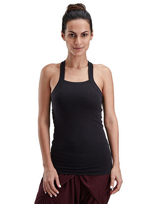 India Ink Black Organic Cotton-Lycra Yoga Tank