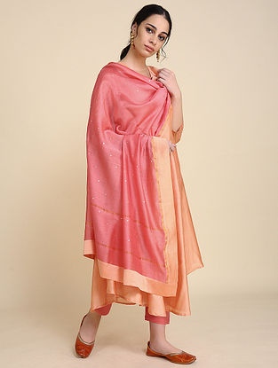 Coral Mukaish Silk Chanderi Dupatta