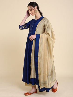 Beige Mukaish Silk Chanderi Dupatta