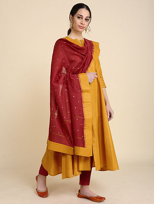 Red Mukaish Silk Chanderi Dupatta