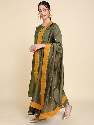 Olive Mukaish Silk Chanderi Dupatta
