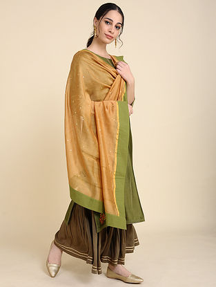 Ochre Mukaish Silk Chanderi Dupatta