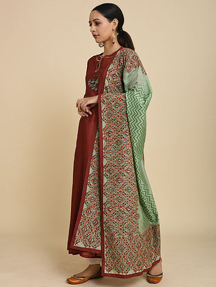 Green Block Printed Silk Chanderi Dupatta