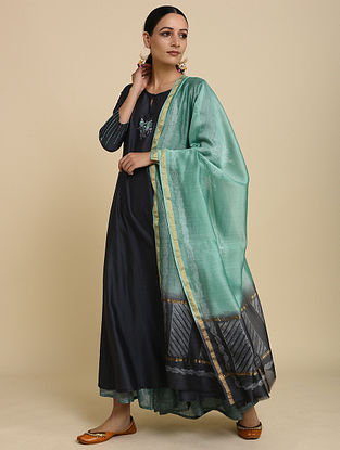 Sea Green Grey Silk Chanderi Dupatta