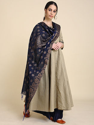 Navy Silk Chanderi Dupatta