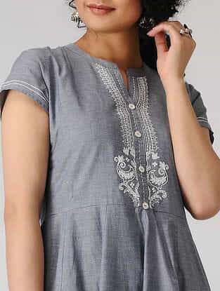 Grey Hand-embroidered Cotton Chambray Kali Kurta