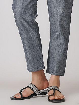 Blue Elasticated Waist Cotton Denim Pants