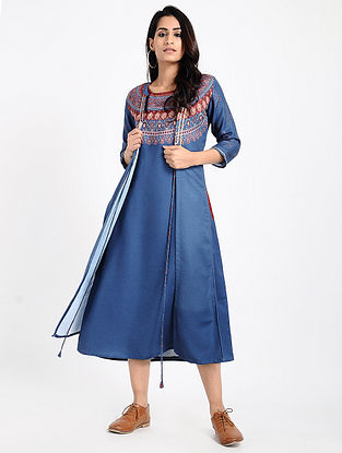 Blue-Maroon Printed Twill Jacket