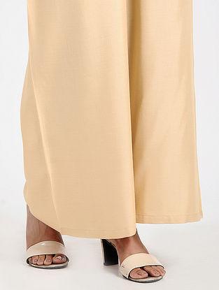 Beige Elasticated-waist Cotton Palazzos
