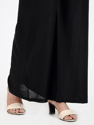 Black Elasticated-waist Cotton Palazzos