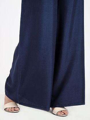 Blue Elasticated-waist Cotton Palazzos
