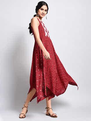 Red Ikat Cotton Dress