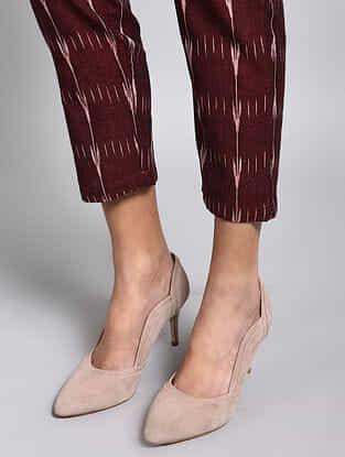 Maroon Ikat Cotton Pants
