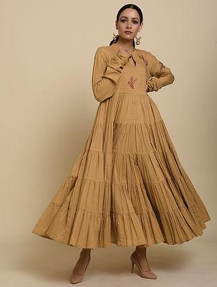 Ochre Embroidered Cotton Dress
