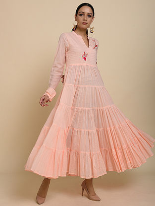 Peach Embroidered Cotton Dress
