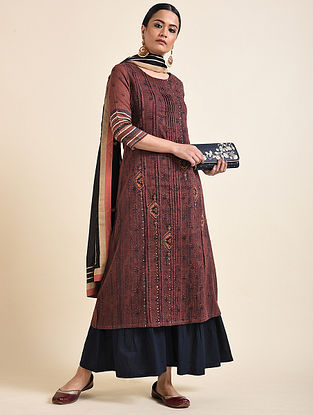 Maroon Printed Cotton Kurta with Embroidery