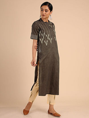 Brown Ikat Cotton Kurta with Embroidery