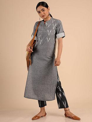 Grey Ikat Cotton Kurta with Embroidery